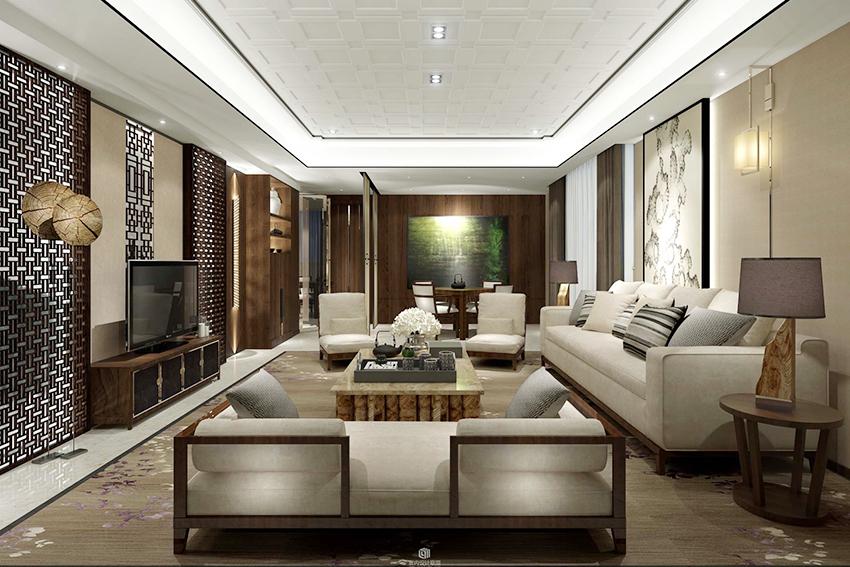 整体家装新中式客厅装修要点,整体家装新中式客厅装修效果图